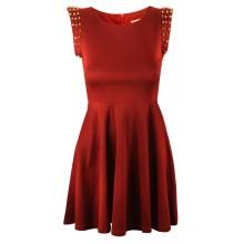 Studded Pleated Skater Dress