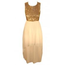 Sequin Chiffon Dip Hem Dress